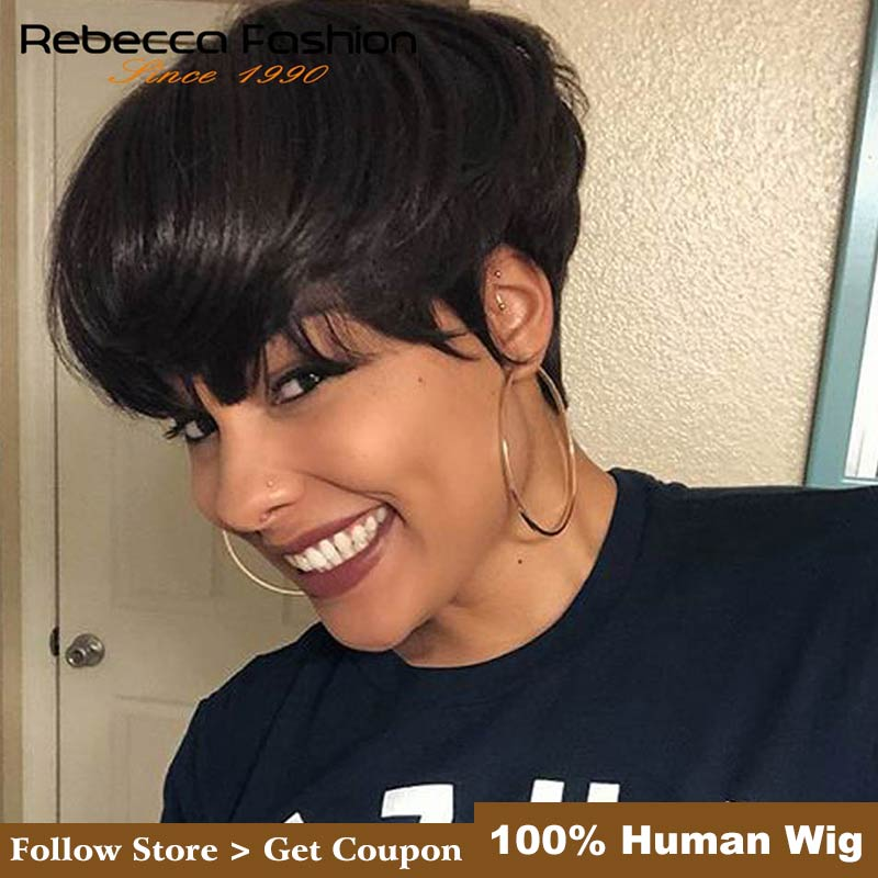 Rebecca Short Straight Hair Wig Peruvian Remy Human Hair Wigs For Black Women Brown Red Mix Color Machine Made Wig Free Shipping
