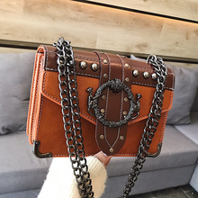 European Fashion Female Square Bag 2019 New Quality PU Leather Womens Designer Handbag Rivet Lock Chain Shoulder Messenger bags