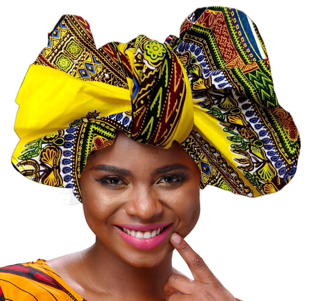 African Headwrap For Women's Hair Accessories Scarf Wrapped Head Turban Ladies Hair Accessories Scarf Hat Headwrap Long Tail Cap