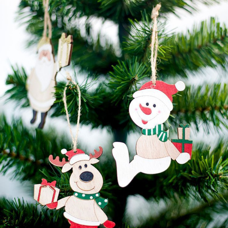 2019 Creative Pack Of 4 Wooden Christmas Pendants Xmas Tree Hanging Ornaments Home Colored Wood Tags For Christmas Gifts Decor in Pendant Drop Ornaments from Home Garden