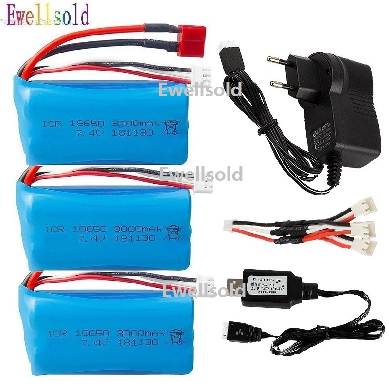 Ewellsold <font><b>7.4V</b></font> <font><b>3000MAH</b></font> <font><b>lipo</b></font> <font><b>Battery</b></font> 2s 18650 for Wltoys 10428 /12428/12423 Q46 RC Car Spare Parts with charger <font><b>7.4V</b></font> 2S <font><b>battery</b></font> image