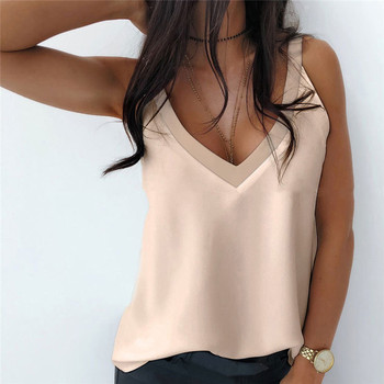 Summer 2021 Sexy V-Neck Sleeveless Blouse Shirt Women Elegant Solid Loose Hollow Out Tops New Lady Off Shoulder Plus Size Blusa 1