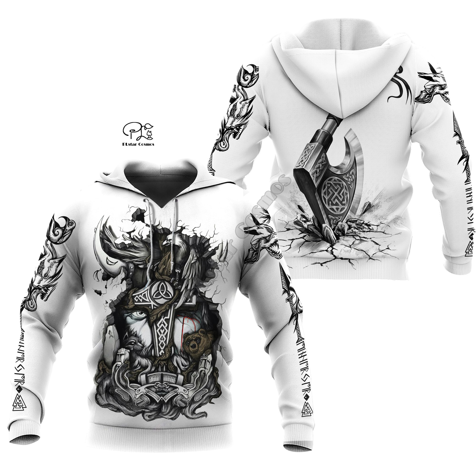 PLstar Cosmos Viking Armor Tattoo Warrior Viking God Odin Symbol NewFashion Tracksuit Harajuku Funny 3Dprint Men/Women Hoodie A4