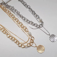 Pendant Choker Letter-Coin Pearl Necklace Chain-Bead Multilayer Gift Gold-Color Vintage