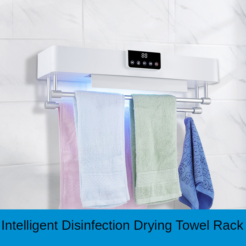 Motivated Intelligent Electric Heating Timing Towel Rack Touch Screen Human Body Induction Hot Drying Uv Sterilization Warmer Dryer Shelf