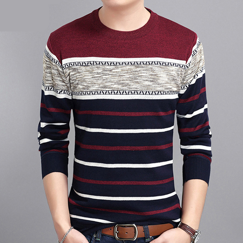 Covrlge 2019 Spring Autumn Casual Men's Sweater O-Neck Striped Slim Knittwear Mens Sweaters Pullovers Pullover Men M-3XL MZM050