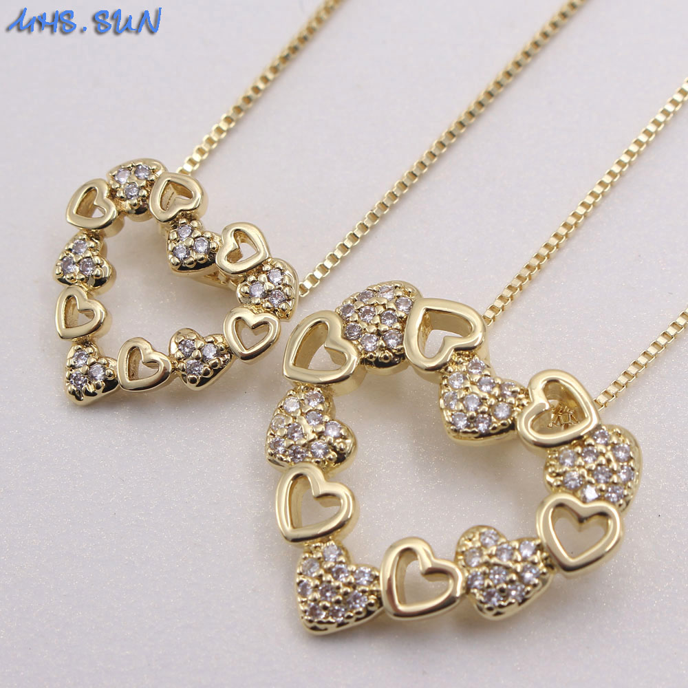 MHS.SUN women luxury zircon necklace with love heart pendant charms chain necklace AAA CZ crystal jewelry for female party gift