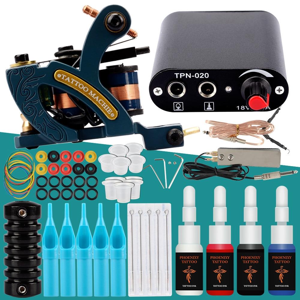 Complete Tattoo Machine Set 1 Coils Guns 4 Colors Inks Pigment Sets Power Tattoo Grips Kits Permanent Makeup Tattoo Kit Sets(China)
