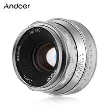 Andoer 35mm f1.6 mf lente grande abertura filme câmera sem espelho len e montagem para sony APS C quadro ildc câmera a6100 5100 a77ii