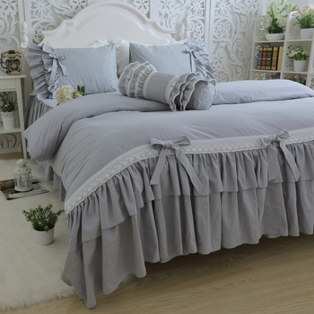 Korean cotton twill bedding set Large lotus leaf Gray bedspread embroidered lace set bowknot Luxury princess quilt cover HM-15S