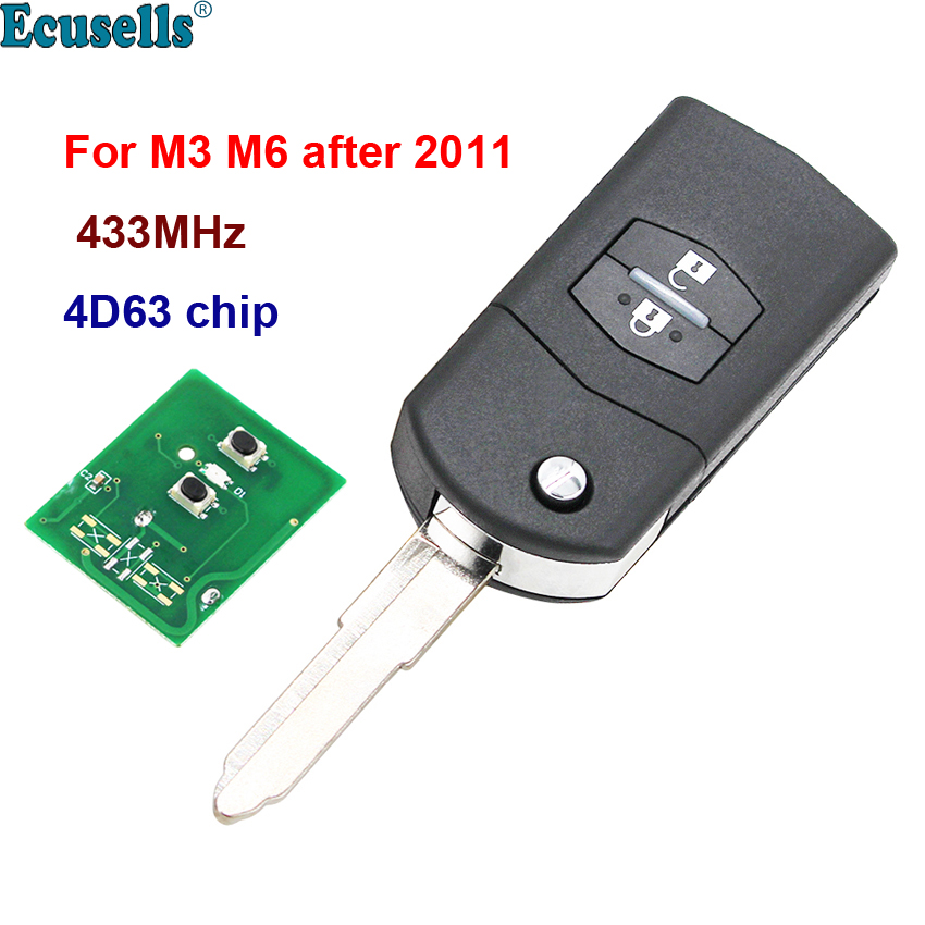 2 buttons 433MHz with 4D63 Chip Remote Car Key fob for Mazda 3 6 M3 M6 Visteon 41521 image