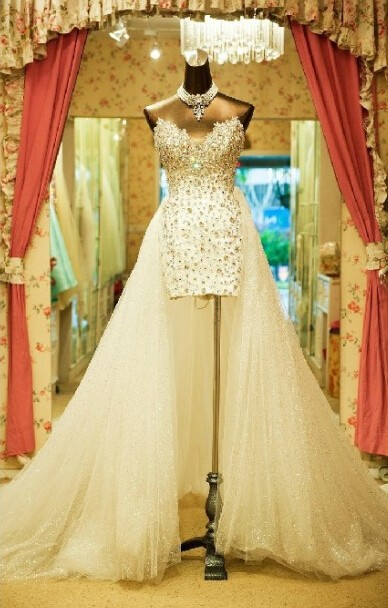 Gorgeous Crystals High Low Bridal Gown With Detachable Skirt Short Front Long Back Rhinestone Mother Of The Bride Dresses
