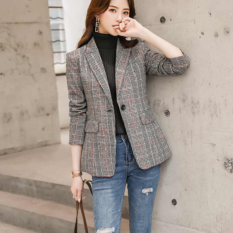 Lenshin Vintage نمط إنجلترا عالية الجودة منقوشة معطف مع جيوب للنساء زر واحد سترة أبلى الموضة السترة