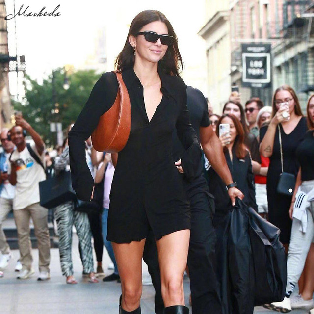 Kendall Jenner Outfit Long Shirt Top Back Hollow Shirt Slim Casual Office Winter Basics Blouses