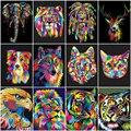 Картина AZQSD по номерам, наборы для холста, животные, красочная краска «сделай сам», рама, ручная роспись, подарок, рисование по номерам, волк, ...
