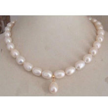 9-10mm south sea white pearl necklace pendant 18 inch 14k golden metal jj(China)