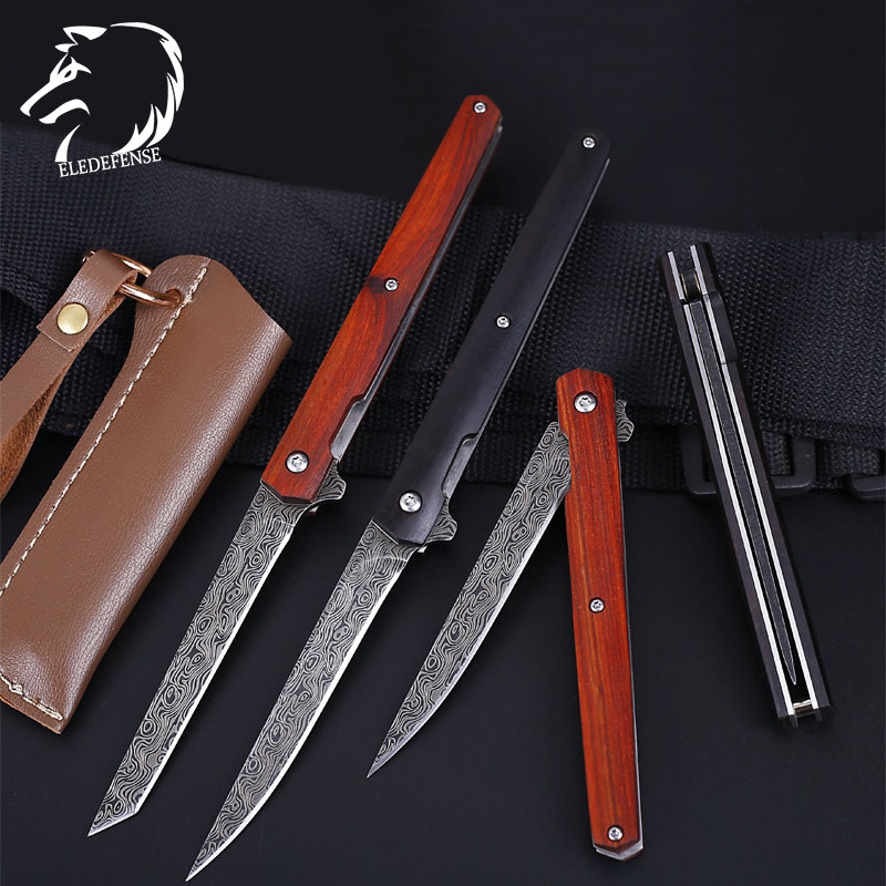New Arrivals Wood Handle Damascus Steel Knives Mini Pocket Folding Knife Weapons Survival Tool Hunting EDC For Man Women