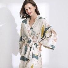 Nueva ropa de dormir de la canción de Julio de bata de primavera fina de algodón y seda para mujer... camisón estampado con flores pijama de