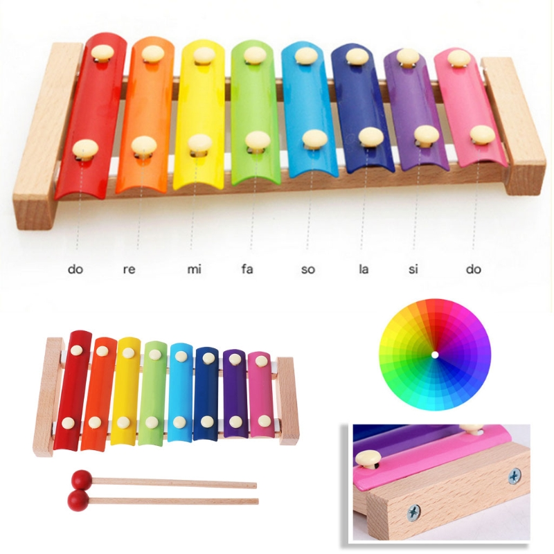Learning Education Wooden Xylophone 8Note Music Instrument For Kid Baby Toy