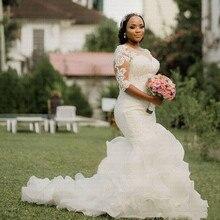 ใหม่ Elegant Ruffles คำ Mermaid งานแต่งงาน 2020 Amazing ไข่มุกครึ่งแขนแอฟริกันชุดเจ้าสาว
