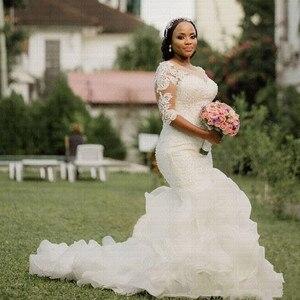 Image 1 - Nuovo Elegante Ruffles Arabo Abito Da Sposa Mermaid 2020 Incredibile Perle Mezze Maniche Africano Abiti Da Sposa