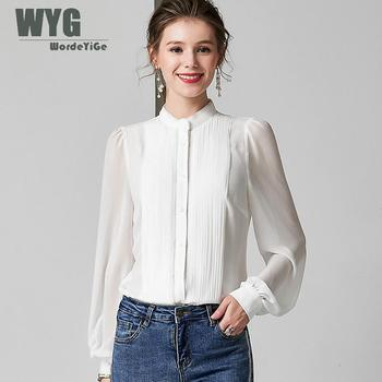цена на European Fashion Pleat Blouses 2019 Autumn New Arrival Fashion Frilled Front Long Sleeve Elegant White Shirts Tops