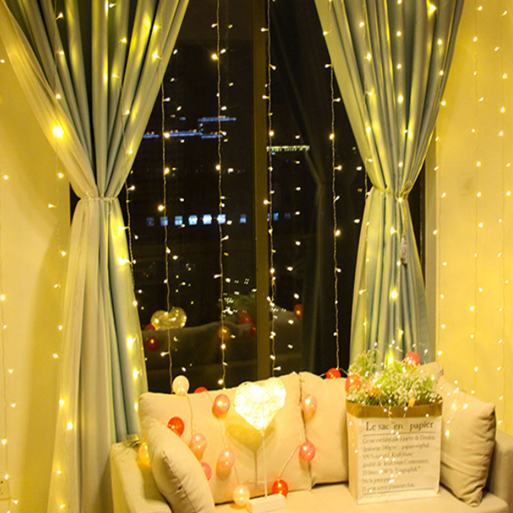 New Christmas outdoor lights 3x3m Led Icicle String Light Curtain lamps Wedding Holiday Party fairy Garland Decor