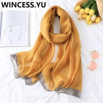 2019 spring autumn silk scarf solid shg shawl and wraps female Beach Scarf Wraps fashion pashmina