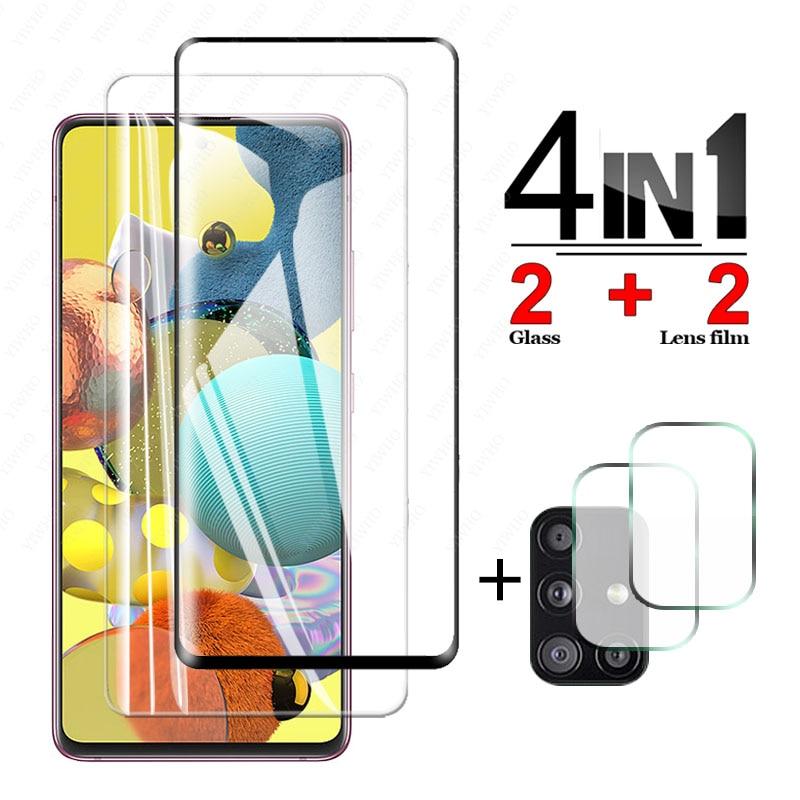 4 в 1 камера Стекло для Samsung Galaxy A51 5G защита для экрана из закаленного стекла процессором обработки изображений, A71 в 71 51 A515F A715F защитная пленка