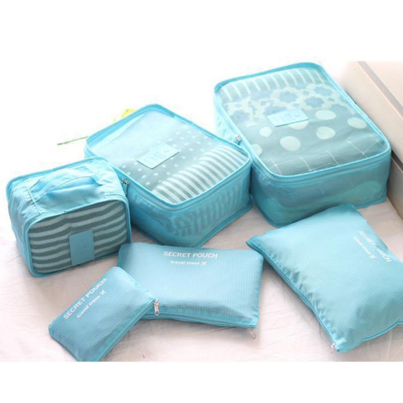 6pcs Waterproof Travel Storage Bag Clothes Packing Cube Luggage Organizer Sets Nylon Home Storage Travel Bags