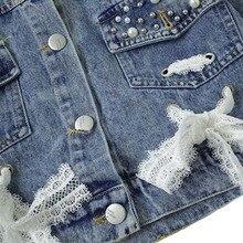 Long sleeve Denim pearl lace design jacket
