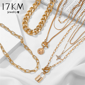 17KM Fashion Star Lock Pendant Necklace for Women Vintage Thick Chunky Chain Choker Multilayer Coin Necklaces Jewelry Gifts