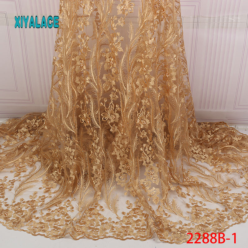 African Lace Fabric Beads Lace Fabric 2019 Embroidered Nigerian Net Laces Fabric Bridal High Quality French Tulle YA2288B-1