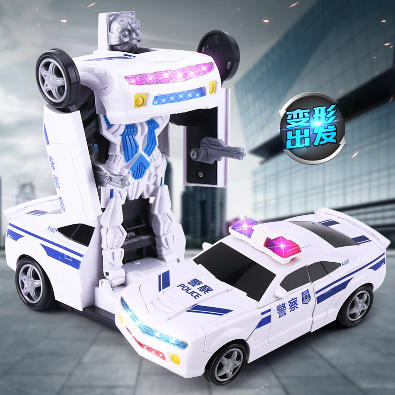 Electric Universal Non-Remote Control Police Car Race Car Deformation Robot Automatic Transformation 5 Children Toy Car