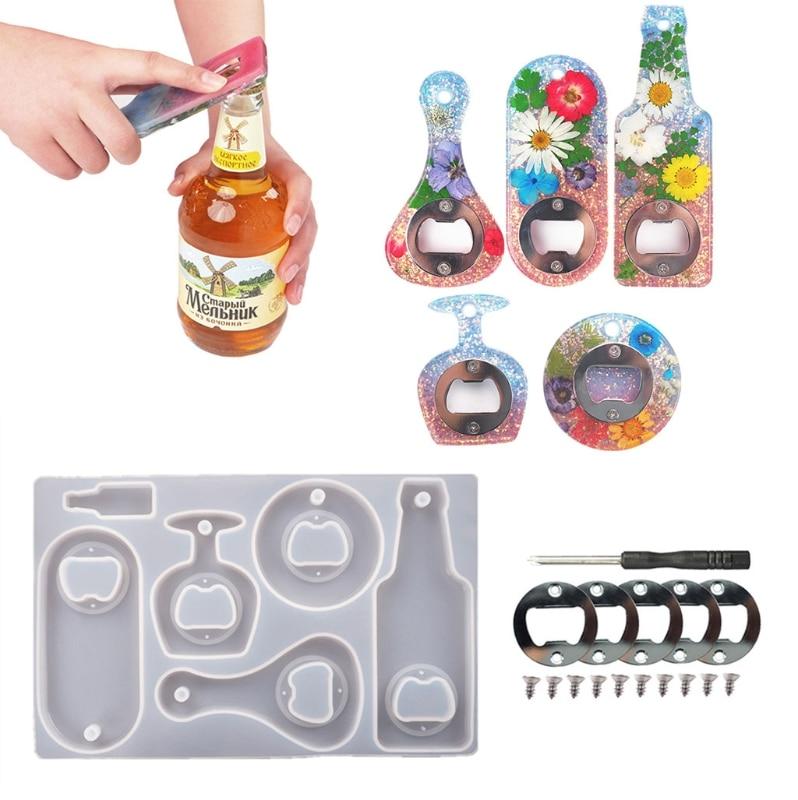 DIY Crystal Epoxy Resin Mold Beer Spanner Bottle Opener Silicone Mould