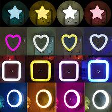 LED Night Light Mini Cute Wall Plug-in Auto Sensor Bedside Lamp For Bedroom Kid #8217 s Room Hallway Corridor Stairs EU US 110V 220V cheap ERANPO Heart CN(Origin) RP0991 Night Lights NONE LED Bulbs 90-260V HOLIDAY 0-5W ROHS Mini LED Night Light White Yellow Red Orange Blue