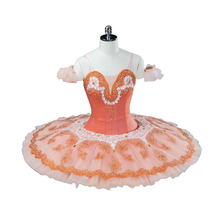 girls peach fairy ballet tutu pink professonal tutus for women nutcracker stage costumes pancakeBT9124