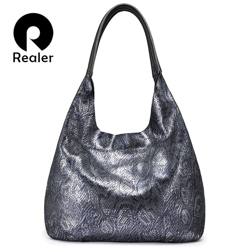 REALER Woman Handbags Genuine Leather Hobos Female Classic Serpentine Prints Shoulder Bags Ladies Large Capacity Tote Bags 2019