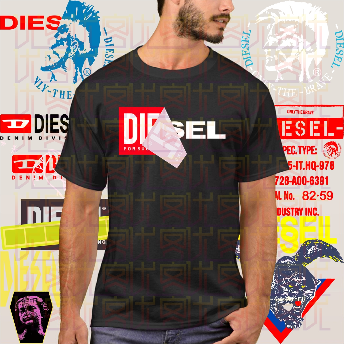 Diesel T-Diego QA T-Shirt Classic Style T-shirt Winner Tee Men Brand Clothing Clothes Popular T-Shirt Crewneck Cotton Cool Tees