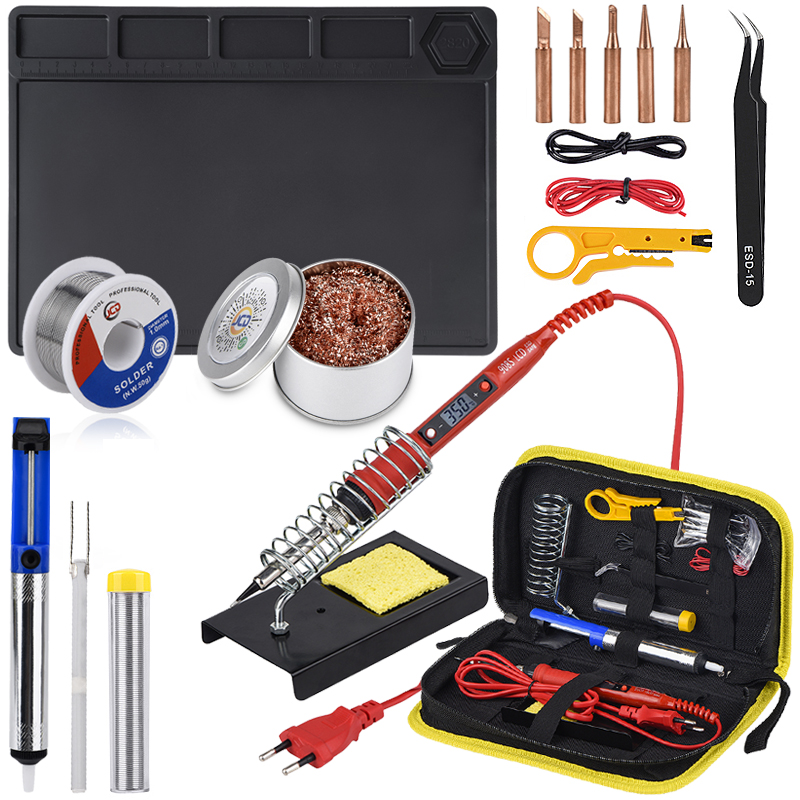 JCD Electric Soldering Iron Temperature Adjustable 220V 80W Welding Repair Tools Kit With ESD Heat Insulation Working Mat Solder