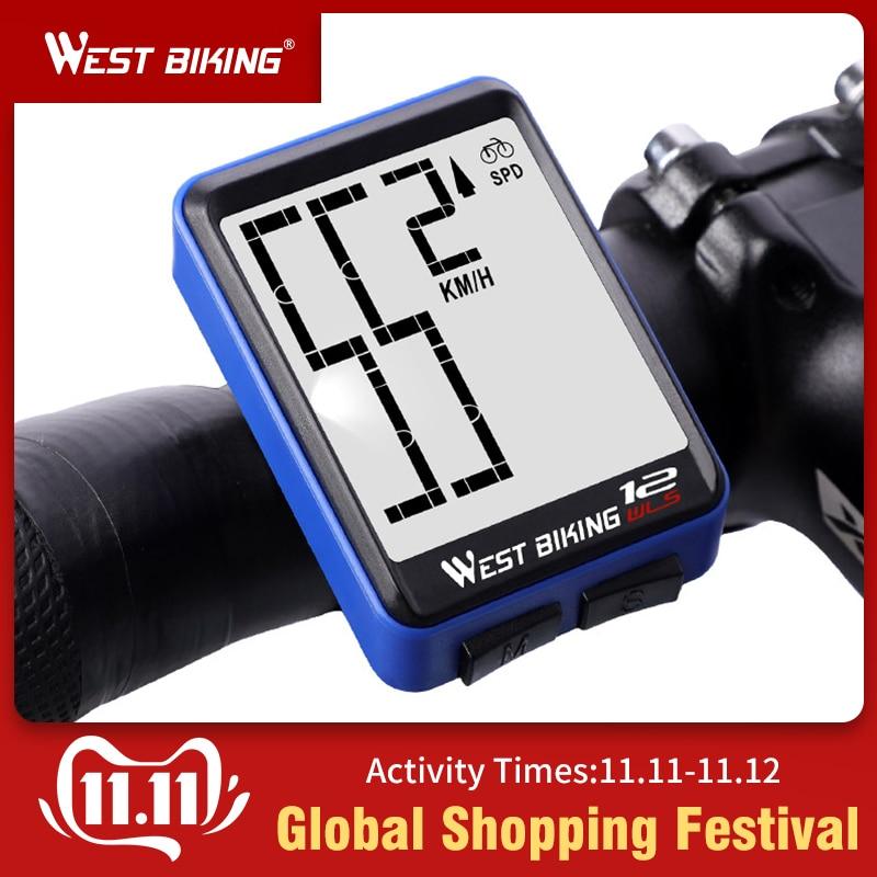 WEST BIKING Large Screen Bicycle Computer Wireless Waterproof Bike Speedometer Stopwatch With Backlight Cycling