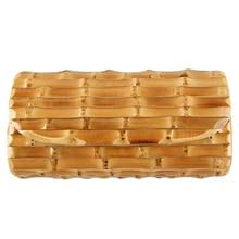 Vintage Bamboo Wood Rattan Straw Wallet Women's Bag Unique Handmade Natural Hard Bamboo Rhizome Bamboo Root Purse Clutch Bag