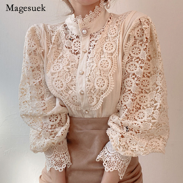 Petal Sleeve Stand Collar Hollow Out Flower Lace Patchwork Shirt Femme Blusas All-match Women Blouse Chic Button White Top 12419 3