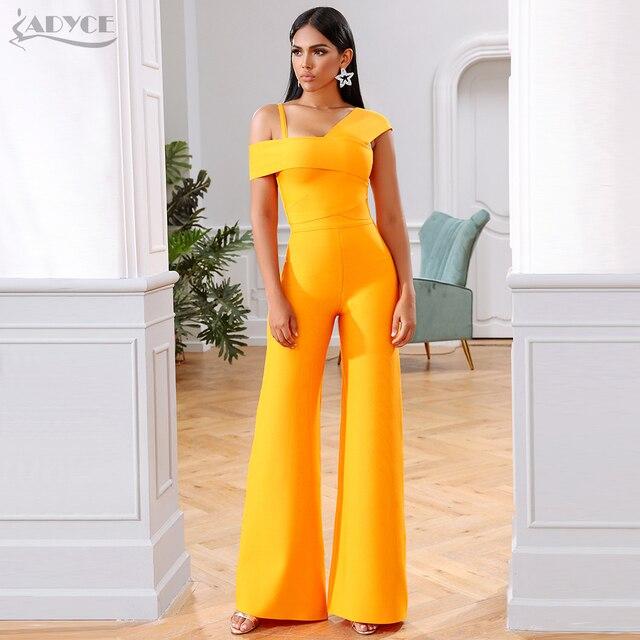 Adyce 2020 חדש קיץ תחבושת סטי נשים שמלת Vestido פסים חולצות & מכנסיים 2 שתי חתיכות סט הלילה החוצה סלבריטאים ערב מסיבת סטים