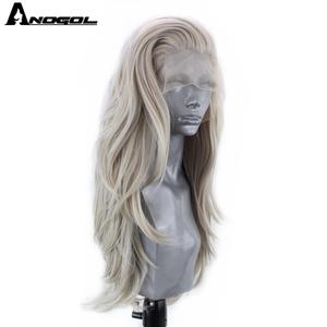 Image 2 - Anogol gümüş gri sentetik dantel ön peruk uzun doğal dalga peruk kadınlar için yüksek sıcaklık Fiber