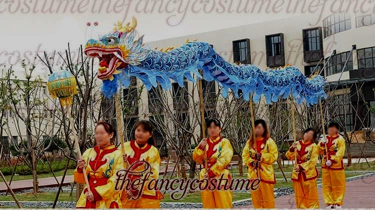 New 7m 6 Student Size 5 Silk Print Fabric Chinese DRAGON DANCE Flower Dragon Chinese Folk Festival Halloween Mascot Costume Without The Poles