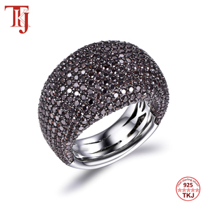 Image 2 - TKJ Anillo de espinela negra para mujer, joyas de piedras preciosas de Plata de Ley 925 auténtica para mujer, piedras redondas, regalo de joyería de compromiso de boda