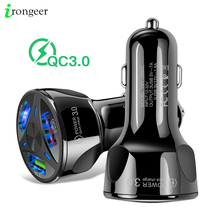 Автомобильное зарядное устройство с двумя USB портами, быстрая зарядка 3,0 2,0 для Samsung A50 S10 Plus QC 3,0, адаптер зарядного устройства для IPhone XR XS 7