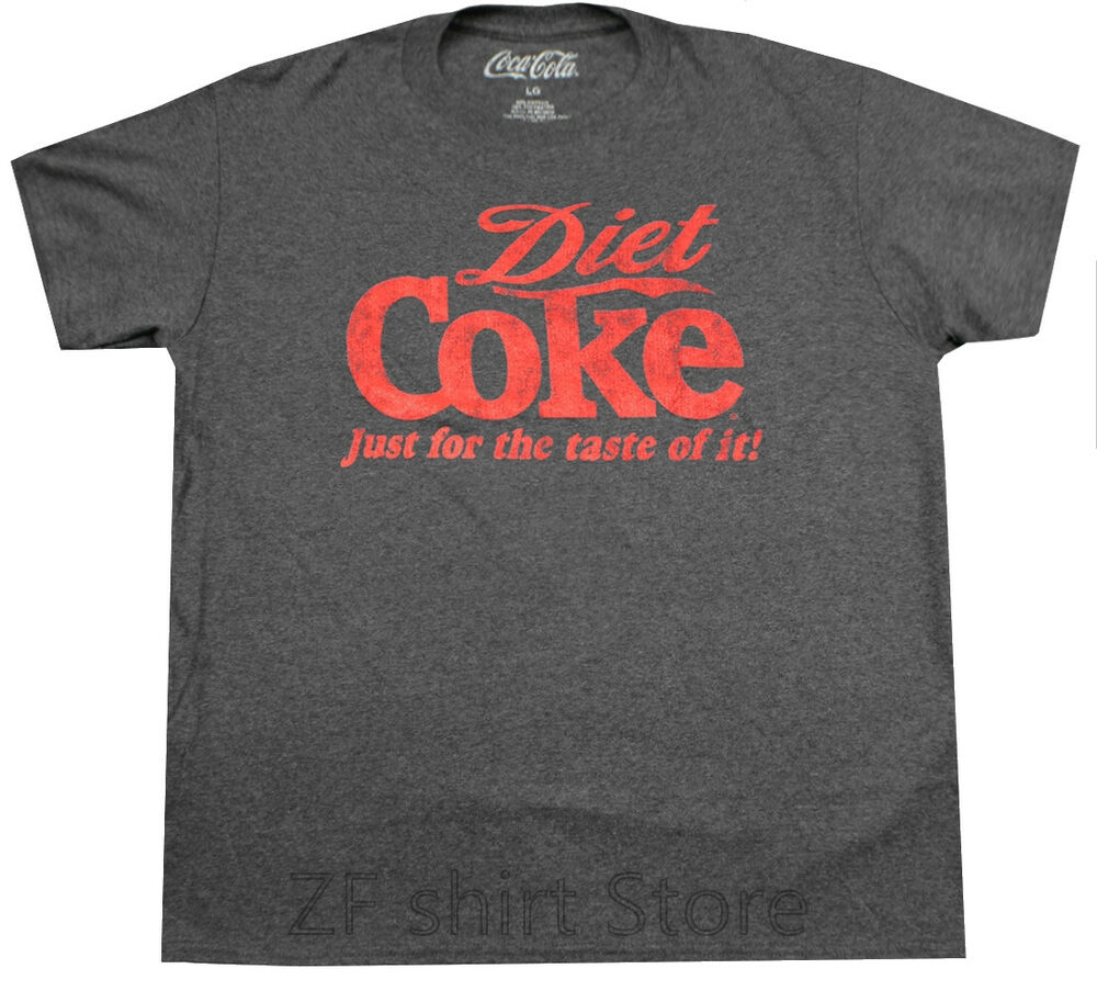 DIET COKE JUST FOR THE TASTE T-SHIRT HEATHER CHARCOAL RETRO SODA TEE MENS men t shirt women 100% cotton tshirts image
