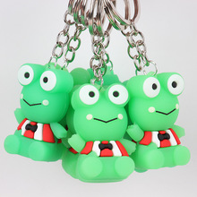 2019 Cute cartoon green frog keychain pendant animal shape silicone key chain backpack accessories holiday gift
